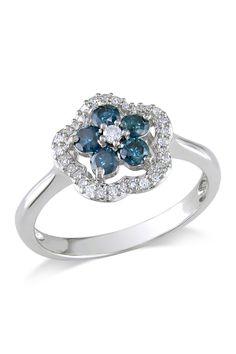 14K White Gold Diamond Flower Ring - 0.50 ctw