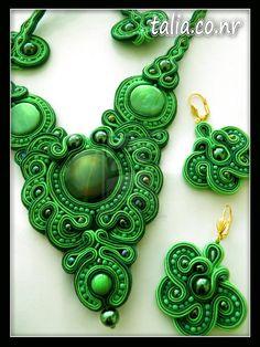 soutache handmaid jewelry by caricatalia on DeviantArt Soutache Necklace, Polymer Clay Creations, Ceramic Clay, Lush Green, Shibori, Beaded Embroidery, Sculpting, Jewlery, Ideas