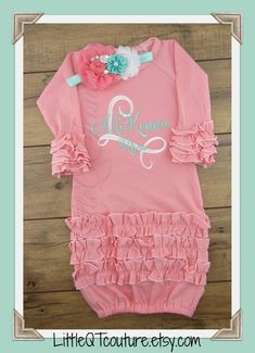 Baby girl coming home outfit Personalized baby girl gown baby girl clothes newborn girl outfit hospital gown Peach Coral Mint Twin Baby Girls, Baby Girl Names, Baby Baby, Newborn Girl Outfits, Boy Outfits, Boy Newborn, Girls Coming Home Outfit, Gowns For Girls, Baby Gown