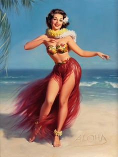 Pin-Up Girl Aloha Hawaii Hula Picture Poster Print Vintage Art Pin Up. 10 x inches Originally printed in the early Printed on highest quality stock soft gloss paper. Actual image dimensions are approximately 10 x inches. Poster is shipped Flat Pin Up Vintage, Vintage Art, Retro Pin Up, Vintage Posters, Pinup Art, Pulp Fiction, Thomas Kinkade, Pin Up Girls, Pin Up Zeichnungen