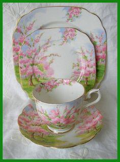 Vintage Royal Albert Blossom Time 4 Piece Set by Queenofbigideas, $35.00