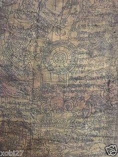Antique mongolian tibetan  #buddhist woodblock amulet  #print on silk #khadag,  View more on the LINK: 	http://www.zeppy.io/product/gb/2/191828361472/