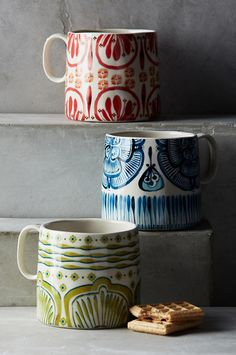 Explore Anthropologie's unique coffee mugs and teacups that make the perfect gift for yourself or a loved one. Shop our iconic monogram mugs and more. Ceramic Clay, Ceramic Painting, Porcelain Ceramics, Anthropologie Gifts, Buy Kitchen, Kitchen Things, Kitchen Ware, Kitchen Cupboard, Wheel Thrown Pottery