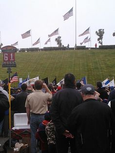 Memorial Day flags on veterans' graves with the Cub Scouts