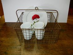 Nifty Old Wavy Wire Industrial Basket Kitchen Storage by Izzyandme