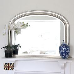 Small Silver Plain Beaded Overmantel Mirror - mirrors
