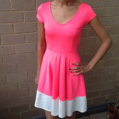 NWOT Neon Skater Dress. Cap sleeve knit skater dress. Fabric is 92% polyester , 5% spandex . Machine wash Dresses