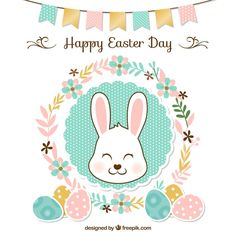 Fundo de Easter floral com festão e coelho bonito Vetor grátis