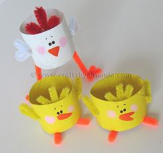 Easter Craft. Toilet paper roll chicks.