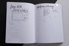 I had configured all the buttons & settings to my liking then realized I had a test camera. Ended up doing this spread so I could seamlessly update the settings in my new camera. Bujo, Minimal, Bullet Journal, Calligraphy, Buttons, Instagram, Joy Of Life, Lettering, Calligraphy Art
