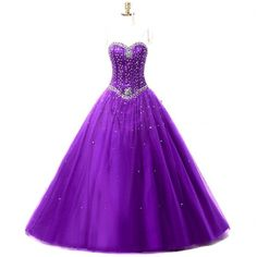 Meilishuo Women's Sweetheart Beading Quinceanera Dresses Long With... ❤ liked on Polyvore featuring dresses, gowns, prom gowns, long gown, long prom dresses, purple homecoming dresses and long party dresses