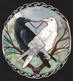 Huginn and Muninn, Thought and Memory, Odin's crows.  They flew over the world and returned in the evening to Odin. One should never return without the other, the consequence being a society ruled by memory without thought, or thought without memory.  © Nataša Ilinčić