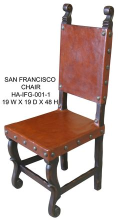 Spanish Style Leather Chair, hand crafted available in other colors. Tuscan Furniture, Unique Furniture, Rustic Furniture, Furniture Making, Luxury Furniture, Furniture Decor, Modern Rustic Homes, Tuscan House, Elegant Dining Room
