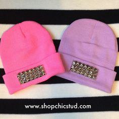 Studded Beanie Hat Neon Yellow Lavender Hot Pink by ShopChicStud