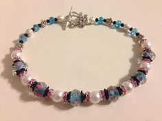 Light Blue & Pink Roses with White Pearls  Boot by LoupeDeCharm