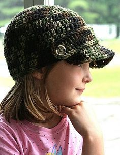 Free crochet pattern for kids hat - probably wouldn't take much to make it fit me