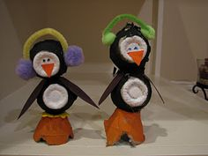 Penguins from egg cartons.