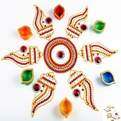 Shankh Rangoli with Diyas - Online Shopping for Diyas and Lights by Ghasitaram Gifts