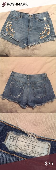 Free People embroidered cut offs Free People embroidered denim cut offs. So cute and perfect for summer! Size 27. Free People Shorts Jean Shorts
