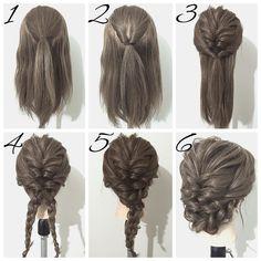 """1,828 Me gusta, 15 comentarios - ヘアアレンジ*YUYA* (@yuya.hair) en Instagram: """"☆簡単ヘアアレンジ☆ 今回はくるりんぱと三つ編みで作るヘアアレンジです ①、トップを一本に結びます。 ②、①をくるりんぱし、ほぐします。…"""""""