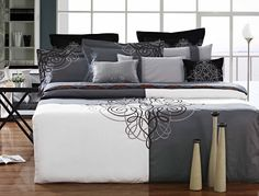 Luxury Duvet Cover White and Black Luxury Duvet Covers, White Duvet Covers, Thread Art, Crewel Embroidery, Dark Colors, Bed Spreads, Linen Bedding, French Country, Comforters