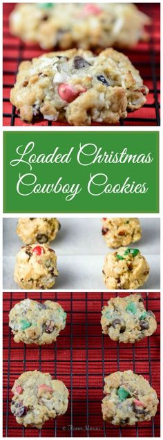 Loaded Christmas Cowboy Cookies are yummy oatmeal cookies with white, dark, and holiday (red and green) chocolate chips, with dried cranberries, coconut, and pecans. #BRBHolidays #Clevergirls