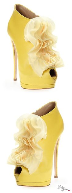 Giuseppe Zanotti ~ Spring Yellow Leather Shooties with Peep Toe + Organza Ruffle Accent