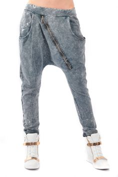 Spodnie dekatyzowane baggy z suwakiem grafitowe,for mum,wygodny fason-uwielbiam:)
