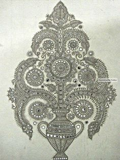 Mudwall painting - Lippan art work from the interiors of Kutch (potential embroidery pattern) Zentangle, Madhubani Art, Indian Folk Art, Madhubani Painting, Indian Patterns, Mirror Art, Fabric Painting, Art And Architecture, Art Forms