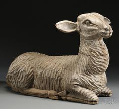 Life-sized Carved and Painted Wood Figure of a Recumbent Lamb, 19th century