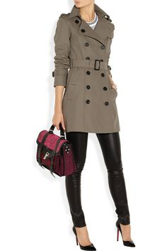 Burberry Prorsums trench coat, Theory top, Maison Martin Margiela cuff, The Row pants, Christian Louboutin shoes, Proenza Schouler bag.