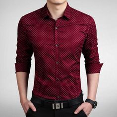 """"""" Wine Slim Dotted Styled Dress Shirt  Price: $46  Free Worldwide Shipping   US Sizes (XS S M L XL XXL)  Payment Method ➡️ Paypal  Buy at:…"""""""
