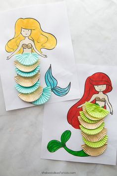 Mermaid Coloring Sheets Free Printable Mermaid Coloring Pages. Use them to color or create a simple mermaid craft with sequins or cupcake liners. Perfect for a mermaid party! Craft Activities For Kids, Preschool Crafts, Kids Crafts, Cardboard Crafts Kids, Craft Ideas, Family Activities, Summer Crafts For Kids, Diy For Kids, Cute Crafts