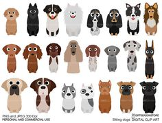 Sitting dogs part 2 digital clip art for Personal and