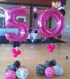 decoracion de globos para 50 años para mujer