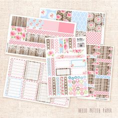 Cottage Collection Sticker Kit - 5 sheets / functional and decorative VERTICAL ECLP planner stickers
