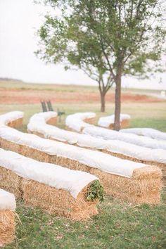 country wedding. hay bail seats