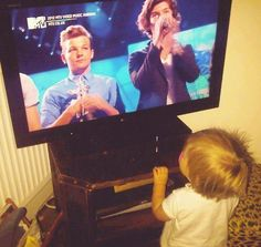 Lux watching One direction on the tv