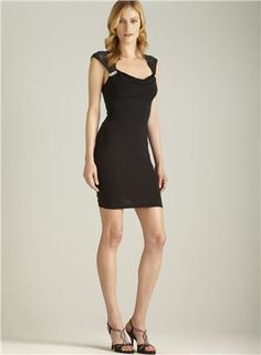 Lace Capped Sleeve Banded Dress