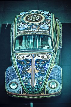 Funky Boho ride ~ Vochol Blue VW (by Aryenn)