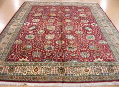11 x 15 PERSIAN TABRIZ Hand Knotted Wool RED IVORY Traditional Oriental Rug  #PersianTabrizTraditional