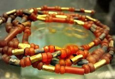 Jewelry from The Royal Tombs of Ur Gold and carnelian necklace.
