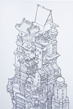 by Akira Yamaguchi Environment Concept Art, Environment Design, Line Art, Art Sketches, Art Drawings, Square Drawing, Chateau Medieval, Anime City, Art Et Illustration