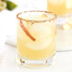 Apple Cider Margaritas with cinnamon and ginger-salted rims are the perfect festive cocktails for fall!