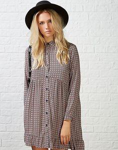 #ARKLOVES this babydoll shirt dress for autumn > Ark Bunny Geo Shirt Dress #shirtdress #70s