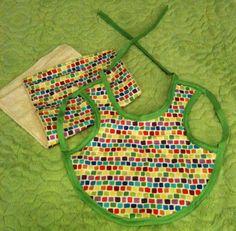 Baby Bib and Burp Rag in Fun Multicolored Fabric, Handmade