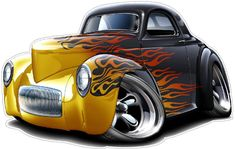 1941 Willys Hot Rod Muscle Car-toon Art Print NEW in Clothing, Shoes & Accessories, Men's Clothing, T-Shirts Car Art, Art Cars, Rat Fink, Weird Cars, Cool Cars, Hot Rods, Carros Hot Wheels, Cool Car Drawings, Pt Cruiser
