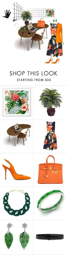 """cool in coral"" by babygirltrice ❤ liked on Polyvore featuring Nearly Natural, Copeland Furniture, Pilot, Casadei, Hermès, DIANA BROUSSARD, Diamondere, Bling Jewelry, Yves Saint Laurent and Emilio Pucci"