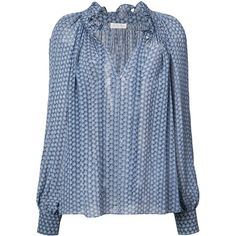 Love Shack Fancy printed blouse (13 300 UAH) ❤ liked on Polyvore featuring tops, blouses, blue, silk blouse, blue silk blouse, blue top, silk top and loveshackfancy