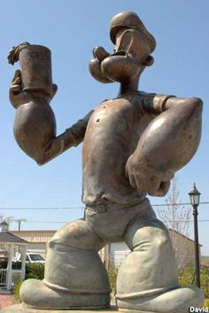 Popeye Statue - 2007 Model Alma, Arkansas, the Spinach Capital of America Wassily Kandinsky, Statues, Popeye The Sailor Man, Roadside Attractions, Down South, Outdoor Art, Public Art, Worlds Largest, Places To See